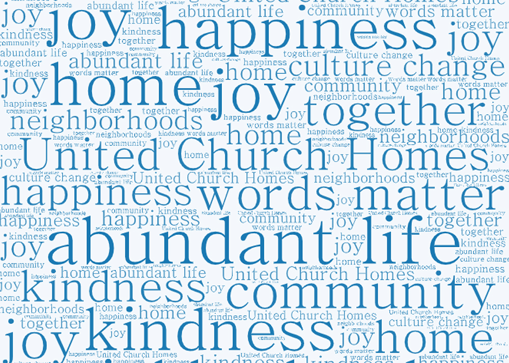 word cloud with United Church Homes language