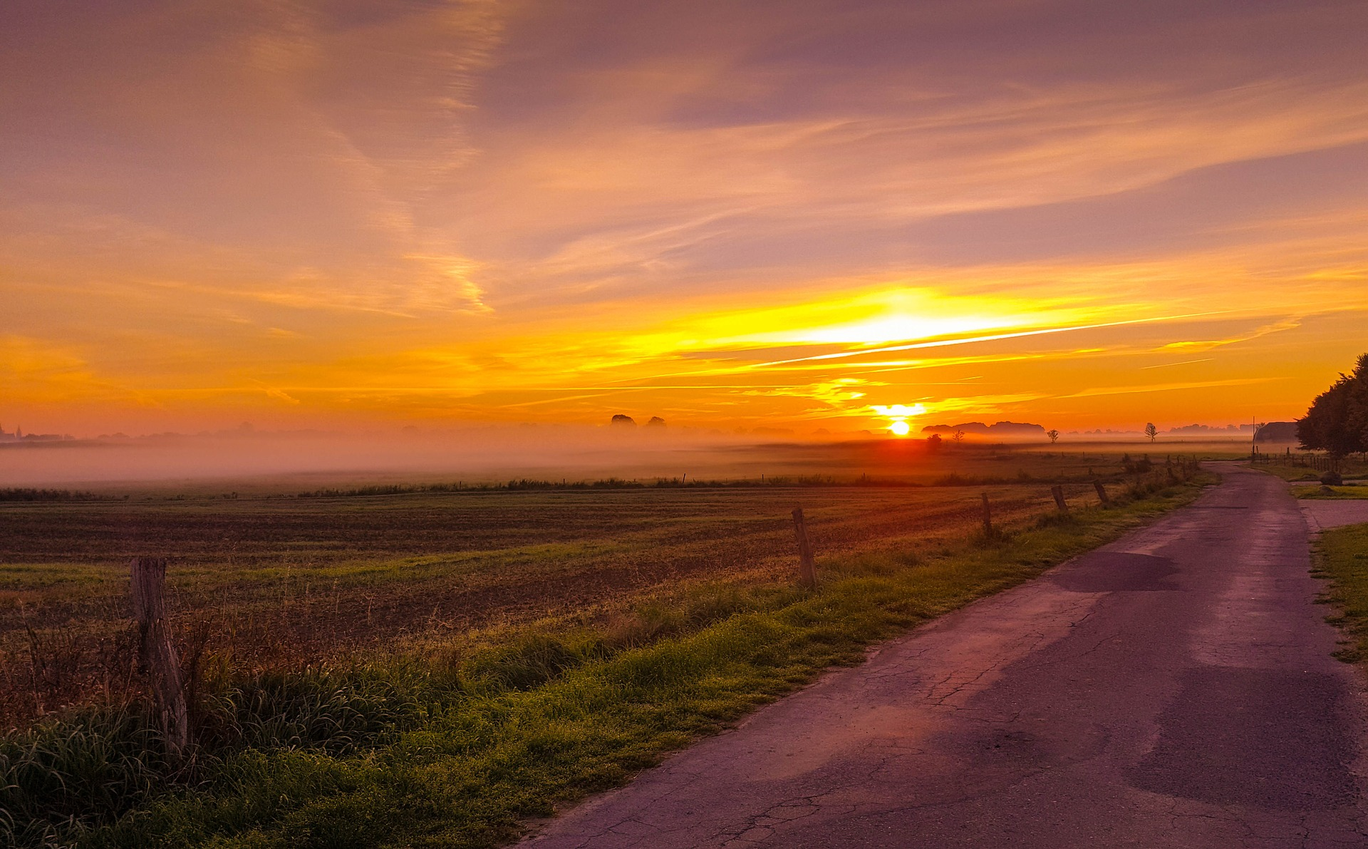 sunrise on a country road